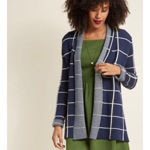 {ModCloth} Simply Snugly WindowPane Open Cardigan